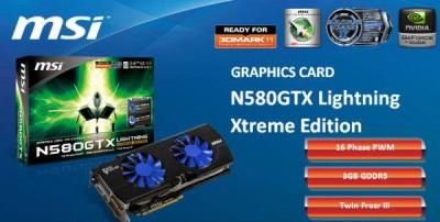 Разогнанная видеокарта N580GTX Lightning Xtreme Edition с 3 ГБ памяти от MSI