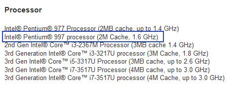 Технические характеристики процессора Pentium 997